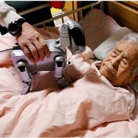 Yoichi Suzuki montre «AIBO», un robot pour chien de compagnie, à sa mère alitée